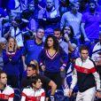 Clémence Bertrand (femme de Lucas Pouille) et Noura El Shwekh (compagne de Jo-Wilfried Tsonga ) - 1er match de la Finale de la coupe Davis opposant la France à la Belgique remporté par Goffin (7-5, 6-3, 6-1) au Stade Pierre Mauroy à Lille , le 24 novembre 2017. © Perusseau - Ramsamy / Bestimage