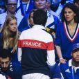 Clémence Bertrand (femme de Lucas Pouille) et Noura El Shwekh (compagne de Jo-Wilfried Tsonga) - 1er match de la Finale de la coupe Davis opposant la France à la Belgique remporté par Goffin (7-5, 6-3, 6-1) au Stade Pierre Mauroy à Lille , le 24 novembre 2017. © Perusseau - Ramsamy / Bestimage
