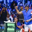 Yannick Noah - 1er match de la Finale de la coupe Davis opposant la France à la Belgique remporté par Jo-Wilfried Tsonga (6-3, 6-2, 6-1) au Stade Pierre Mauroy à Lille , le 24 novembre 2017. © Perusseau - Ramsamy / Bestimage