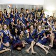 """Les Miss régionales 2017 devant le show """"Miss Univers 2017"""" dans lequel Alicia Aylies tentait de prendre la succession d'Iris Mittenaere, le 26 novembre 2017 à Los Angeles."""