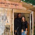 """Semi-exclusif - Ahmed Dramé et Eva Dollin - Inauguration du """"Chalet les Neiges 1850"""" sur la terrasse l'Hôtel Barrière Le Fouquet's à Paris le 27 novembre 2017. © Coadic Guirec/Bestimage"""