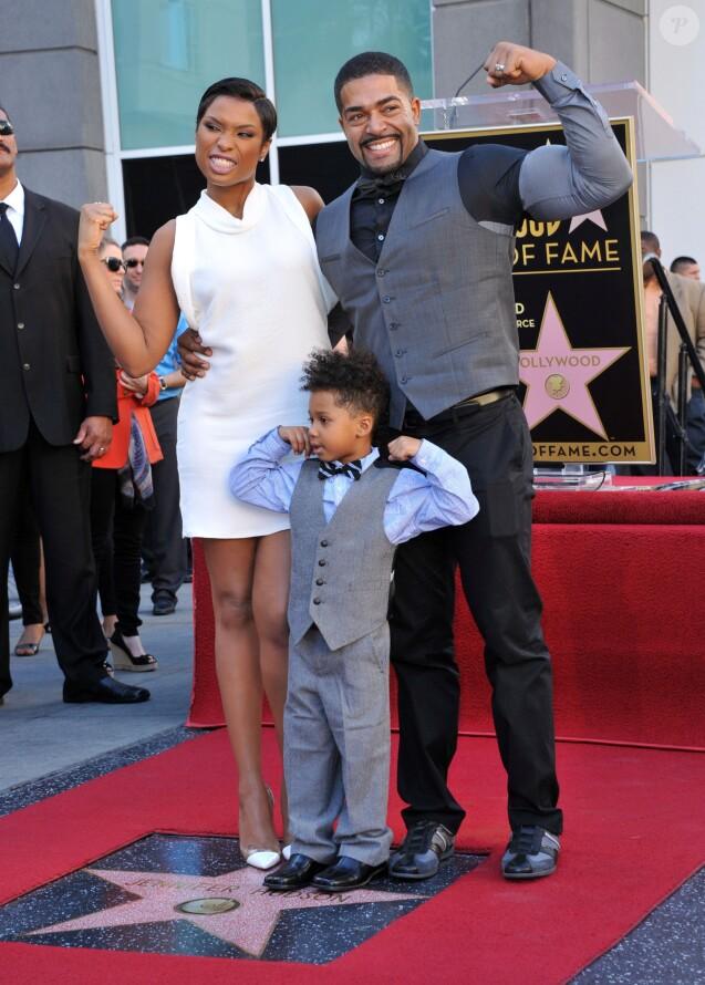 Jennifer Hudson, David Otunga, David Otunga Jr. - Jennifer Hudson recoit son etoile sur le Hollywood Walk of Fame a Hollywood le 13 novembre 2013