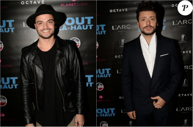 "Dj Noyz (Noam Smadja) et son frère Kev Adams - After-party du film ""Tout là-haut"" au club l'Arc à Paris, France, le 7 décembre 2017. Evénement organisé par Five Eyes production © Rachid Bellak/Bestimage (photomontage)"