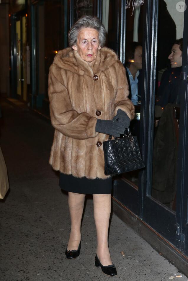 Andrée Sarkozy - Nicolas Sarkozy fête son 58eme anniversaire avec ses amis au restaurant Giulio Rebellato à Paris le 28 Janvier 2013.