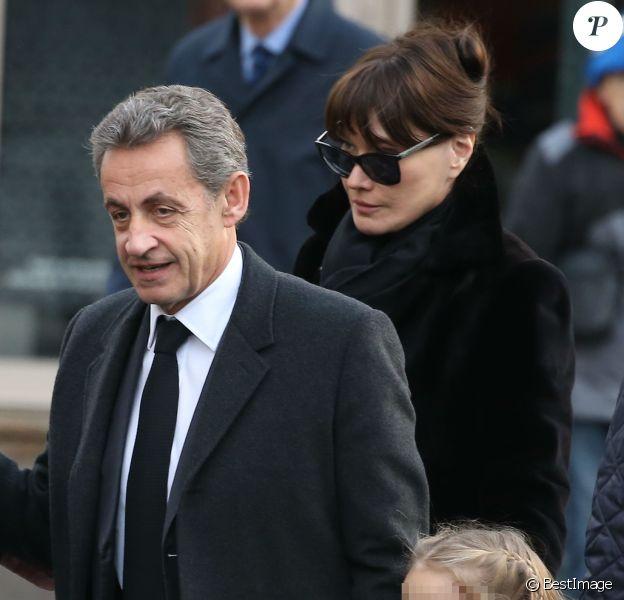 Carla Bruni et Nicolas Sarkozy avec leur fille Giulia - Obsèques de Andrée Sarkozy (mère de N.Sarkozy), dite Dadue née Andrée Mallah, en l'église Saint-Jean-Baptiste à Neuilly-Sur-Seine. Le 18 décembre 2017