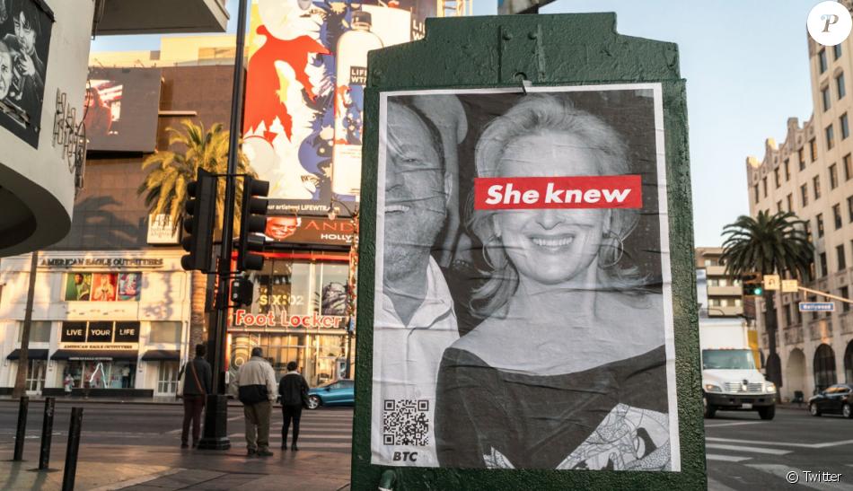 Une affiche She Knew épinglant Meryl Streep à Los Angeles.