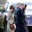 Exclusif - Meghan Markle et le prince Harry avec le prince William et la duchesse Catherine de Cambridge, enceinte, à la sortie de la messe de Noël en l'église Sainte-Marie-Madeleine à Sandringham, le 25 décembre 2017.