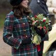 Kate Middleton, duchesse de Cambridge, enceinte, a assisté à la messe de Noël à l'église Sainte-Marie-Madeleine à Sandringham, le 25 décembre 2017.