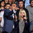 """Exclusif - Nikos Aliagas et France Gall - Enregistrement de l'émission """"La Chanson de l'Année, Fête de la Musique"""" dans les arènes de Nîmes, le 20 juin 2015."""