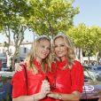 """Adriana Karembeu et sa soeur Natalia Sklenarikova - Arrivée du 15ème Rallye des Princesses à Saint-Tropez le 5 juin 2014."""