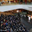 Le président de la République Emmanuel Macron pendant son discours au Soho 3Q (espaces de coworking) de Pékin lors de la visite d'Etat de trois jours en Chine, le 9 janvier 2018. © Dominique Jacovides/Bestimage
