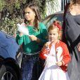 Jessica Alba enceinte et ses filles Honor et Haven au Lyft Community Holiday Fiesta à Los Angeles, le 17 décembre 2017.