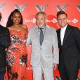 Will I Am, Jennifer Hudson, Tom Jones, Olly Murs lors du photocall de l'émission The Voice à l'hôtel Ham Yard à Londres le 3 janvier 2018.