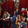 La princesse Stéphanie de Monaco, la girafe de Joseph Richter, la troupe Bingo, le duo Ballance, et M. Loyal alias Petit Gougou lors du photocall de présentation du 42ème Festival International du Cirque de Monte-Carlo sous le chapiteau de Fontvieille le 16 janvier 2018. © Bruno Bebert / Bestimage