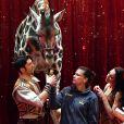 La princesse Stéphanie de Monaco avec Joseph Richter, son épouse Merrylu et leur girafe lors du photocall de présentation du 42ème Festival International du Cirque de Monte-Carlo sous le chapiteau de Fontvieille le 16 janvier 2018. © Bruno Bebert / Bestimage