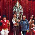 La princesse Stéphanie de Monaco avec Joseph Richter et sa girafe lors du photocall de présentation du 42ème Festival International du Cirque de Monte-Carlo sous le chapiteau de Fontvieille le 16 janvier 2018. © Bruno Bebert / Bestimage