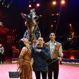 La princesse Stéphanie de Monaco avec le couple de dresseurs Joseph Richter et sa femme Merrylu et leur girafe lors du photocall de présentation du 42ème Festival International du Cirque de Monte-Carlo sous le chapiteau de Fontvieille le 16 janvier 2018. © Bruno Bebert / Bestimage