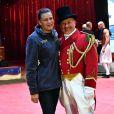La princesse Stéphanie de Monaco avec M. Loyal alias Petit Gougou lors du photocall de présentation du 42ème Festival International du Cirque de Monte-Carlo sous le chapiteau de Fontvieille le 16 janvier 2018. © Bruno Bebert / Bestimage