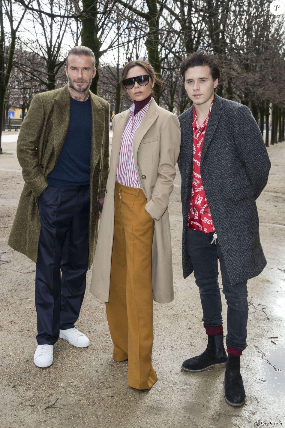 David Beckham, sa femme Victoria et leur fils Brooklyn au défilé de mode Louis Vuitton homme automne-hiver 2018-2019 au Palais Royal à Paris. Le 18 janvier 2018 © Olivier Borde / Bestimage
