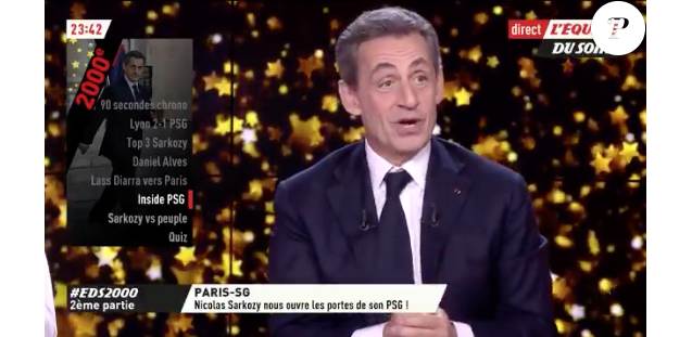 """Nicolas Sarkozy dans """"L'Equipe du soir"""" le 22 janveir 2018."""