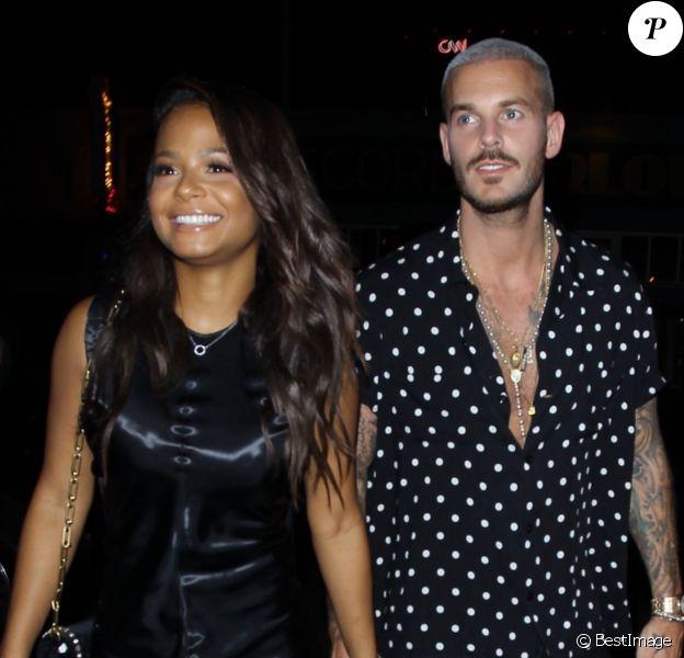 """M. Pokora (Matt Pokora) et sa compagne Christina Milian fêtent leurs anniversaires respectifs avec leurs amis au restaurant """"Beauty & Essex"""" à Los Angeles le 26 septembre 2017."""