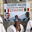 Illustration - Après avoir été accueillis par le Président de la République du Sénégal, Macky Sall et son épouse Marène Sall sur l'aéroport de Saint-Louis, le Président de la République française, Emmanuel Macron accompagné de son épouse Brigitte Macron ont participé à un bain de foule dans les rues de la ville. Ils se sont, ensuite, rendus sur la Langue de Barbarie, touchée par l'érosion côtière avant d'aller sur la place Faidherbe pour une allocution des deux chefs d'états. Avant de quitter Saint-Louis, le couple présidentiel est allé à la rencontre des élèves d'une école à l'occasion du lancement symbolique d'un concours sur les cent ans de l'Aéropostale. Saint-Louis, Sénégal le le 3 Février 2018. © Dominique Jacovides/Bestimage