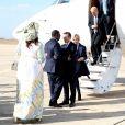 Emmanuel et Brigitte Macron, Macky et Marème Sall, Jean-Yves Le Drian - Après avoir été accueillis par le Président de la République du Sénégal, Macky Sall et son épouse Marène Sall sur l'aéroport de Saint-Louis, le Président de la République française, Emmanuel Macron accompagné de son épouse Brigitte Macron ont participé à un bain de foule dans les rues de la ville. Ils se sont, ensuite, rendus sur la Langue de Barbarie, touchée par l'érosion côtière avant d'aller sur la place Faidherbe pour une allocution des deux chefs d'états. Avant de quitter Saint-Louis, le couple présidentiel est allé à la rencontre des élèves d'une école à l'occasion du lancement symbolique d'un concours sur les cent ans de l'Aéropostale. Saint-Louis, Sénégal le le 3 Février 2018. © Dominique Jacovides/Bestimage