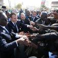 Emmanuel Macron, Macky Sall - Après avoir été accueillis par le Président de la République du Sénégal, Macky Sall et son épouse Marène Sall sur l'aéroport de Saint-Louis, le Président de la République française, Emmanuel Macron accompagné de son épouse Brigitte Macron ont participé à un bain de foule dans les rues de la ville. Ils se sont, ensuite, rendus sur la Langue de Barbarie, touchée par l'érosion côtière avant d'aller sur la place Faidherbe pour une allocution des deux chefs d'états. Avant de quitter Saint-Louis, le couple présidentiel est allé à la rencontre des élèves d'une école à l'occasion du lancement symbolique d'un concours sur les cent ans de l'Aéropostale. Saint-Louis, Sénégal le le 3 Février 2018. © Dominique Jacovides/Bestimage