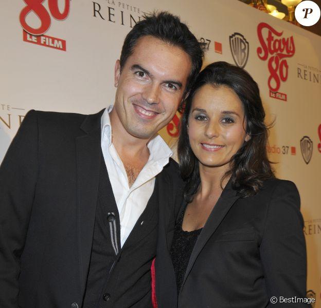 """Faustine Bollaert et son mari Maxime Chattam - Avant-premiere du film """"Stars 80"""" au Grand Rex le 19 octobre 2012."""