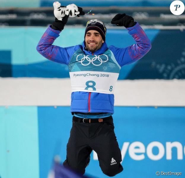Le biathlète français Martin Fourcade a été sacré champion olympique en poursuite de 12,5 km du biathlon à Pyeongchang en Corée du sud, le 12 février 2018