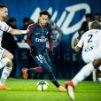 Neymar lors du match PSG - Strasbourg (5-2) au Parc des Princes à Paris le 17 février 2018. Le nom des joueurs du PSG a été floqué en Mandarin pour saluer le nouvel an chinois. © Cyril Moreau / Bestimage
