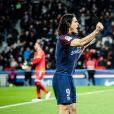 Edinson Cavani lors du match PSG - Strasbourg (5-2) au Parc des Princes à Paris le 17 février 2018. Le nom des joueurs du PSG a été floqué en Mandarin pour saluer le nouvel an chinois. © Cyril Moreau / Bestimage