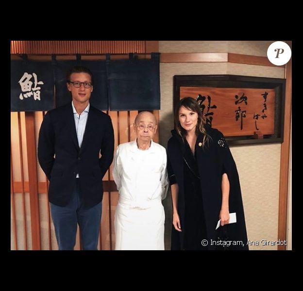 Ana Girardot et son chéri Arthur de Villepin avec le chef Jiro Ono.