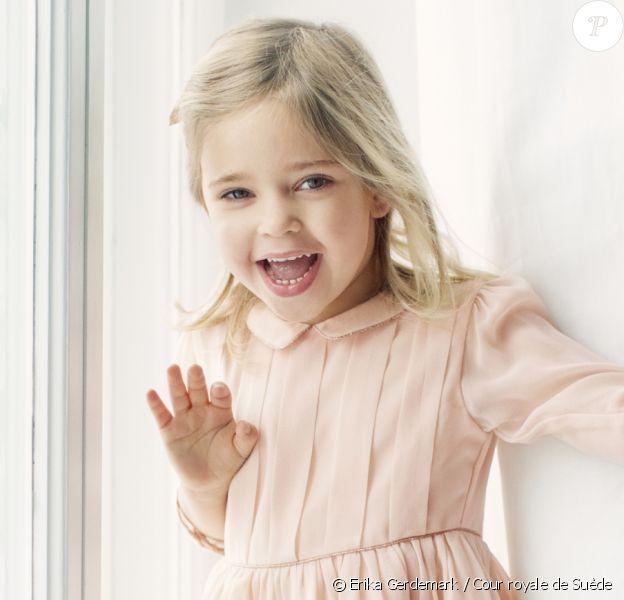 La princesse Leonore de Suède, fille de la princesse Madeleine et de Christopher O'Neill, portrait réalisé au Hovstallet à Stockholm à l'occasion de son 4e anniversaire le 20 février 2018. © Erika Gerdemark / Cour royale de Suède