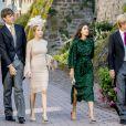 Le prince Ernst August de Hanovre (Jr.), avec sa compagne Ekaterina Malysheva, et le prince Christian de Hanovre, avec sa compagne la comtesse Alessandra de Osma, au mariage religieux du prince Ferdinand de Leiningen et de Viktoria Luise de Prusse à Amorbach en Allemagne le 16 septembre 2017.