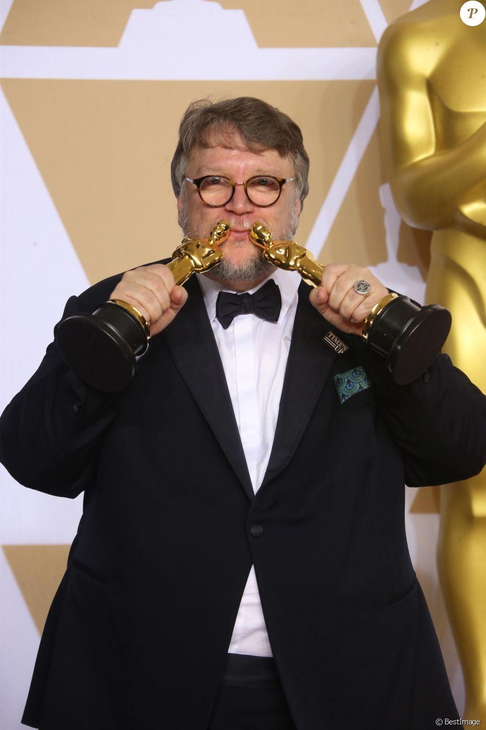 Guillermo del Toro (Oscar du meilleur film pour 'La Forme de l'eau') à la press room de la 90ème cérémonie des Oscars 2018 au théâtre Dolby à Los Angeles, le 4 mars 2018