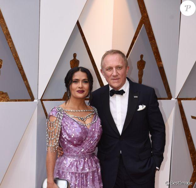 Salma Hayek (robe Gucci) et son mari François-Henri Pinault - Arrivées - 90ème cérémonie des Oscars 2018 au théâtre Dolby à Los Angeles, le 4 mars 2018. © Kevin Sullivan via Zuma Press/Bestimage
