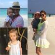 La princesse Madeleine de Suède a publié jeudi 21 janvier 2016 sur sa page Facebook des photos de ses vacances en famille aux Maldives, avec son mari Christopher et leurs enfants la princesse Leonore, bientôt 2 ans, et le prince Nicolas, 7 mois. Photomontage Purepeople.