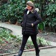 Exclusif - La princesse Madeleine de Suède, enceinte, se promène dans les rues de Londres le 5 février 2018.