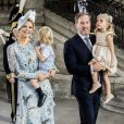 La princesse Madeleine de Suède et son mari Christopher O'Neill en compagnie de leurs enfants, la princesse Leonore et le prince Nicolas, lors de la messe à l'occasion du 40ème anniversaire de la princesse Victoria de Suède au palais Royal de Stockholm en Suède, le 14 juillet 2017.