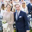 La princesse Madeleine de Suède et son mari Christopher O'Neill lors du 40e anniversaire de la princesse Victoria sur l'île d'Oland le 14 juillet 2017.