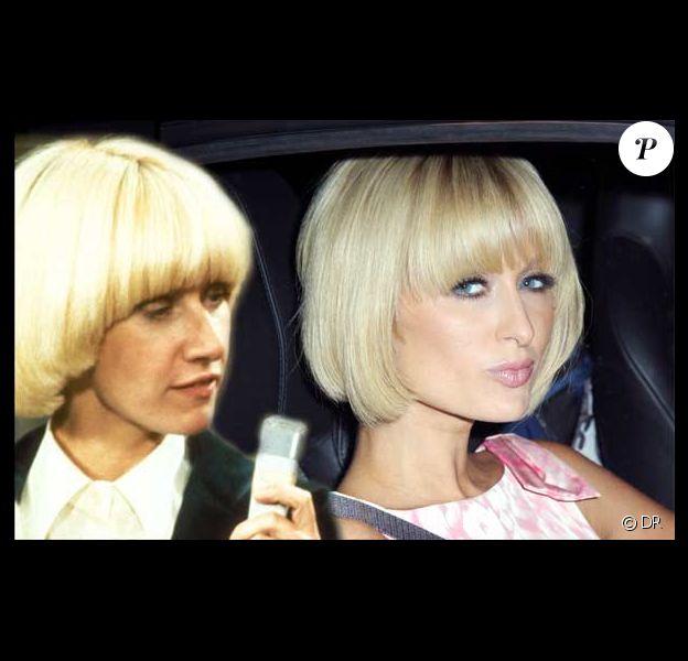 Danièle Gilbert en 1975 et Paris Hilton en 2009