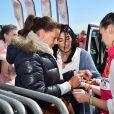 La princesse Stéphanie de Monaco et sa fille Pauline Ducruet - Départ du 28ème Rallye Aicha des Gazelles depuis la Promenade des Anglais à Nice le 17 mars 2018. © Bruno Bebert/Bestimage