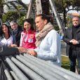 Christian Estrosi, le maire de Nice, la princesse Stéphanie de Monaco, Pauline Ducruet et Schanel Bakkouche - Départ du 28ème Rallye Aicha des Gazelles depuis la Promenade des Anglais à Nice le 17 mars 2018. © Bruno Bebert/Bestimage