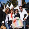 Laura Tenoudji, sa fille Bianca et des amis - Départ du 28ème Rallye Aicha des Gazelles depuis la Promenade des Anglais à Nice le 17 mars 2018. © Bruno Bebert/Bestimage