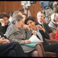Rachida dati à l'Unesco pour la conférence de lancement du projet Aladin initié par la fondation pour la mémoire de la Shoah, en présence de Madame Simone Veil et de Monsieur Jacques Chirac, dans une ambiance très détendue.