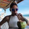 Jesta (Koh-Lanta) détendue à Bali le 11 avril 2018.