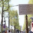 Hommage à Xavier Jugelé sur les Champs Elysées, à Paris le 20 avril 2018. Une plaque a été dévoilée. © Dominique Jacovides / Bestimage