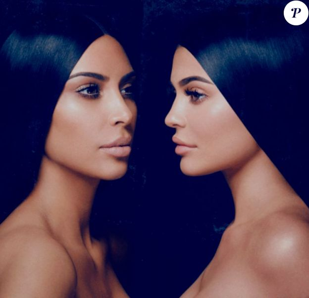 "Kim Kardashian et Kylie Jenner pour la gamme ""KKW x Kylie Cosmetics"". Avril 2017."