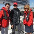 """Exclusif - Christian Estrosi, le maire de Nice et sa femme Laura Tenoudji ont embarqué sur le bateau de Francis Joyon, """"Idec"""" dans le cadre de la Nice UltiMed à Nice le 30 avril 2018. Pour la 1ère fois dans la Baie des Anges, une course va confronter l'élite des skippers de la Course au Large, sur les plus grands bateaux de course à la voile au monde : les Ultimes. © Bruno Bebert / Bestimage"""